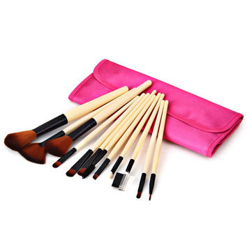 12PCS High-end Brush Sets and Cosmetic Face Powder Brush with Red Cloth Bag