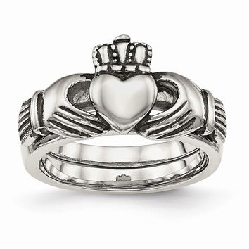 Stainless Steel Love, Loyalty, Friendship Claddagh Double Hinged Ring 6 to 9 Size