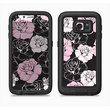 The Pink and Black Rose Pattern V3 Full Body Samsung Galaxy S6 LifeProof Fre Case Skin Kit