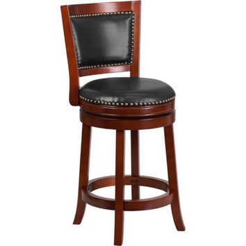 26'' High Dark Cherry Wood Counter Height Stool with Walnut Leather Swivel Seat