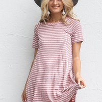 Hope For Us Raspberry Stripe T-Shirt Dress