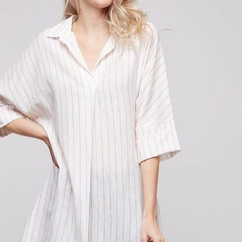 Striped Oversized Tunic with Roll Up Sleeves