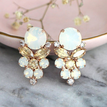 White Opal Earrings, Bridal Opal Earrings, Opal Champagne Crystal Earrings, Bridesmaids Opal Earrings, Gift For Ger, Swarovski Opal Studs