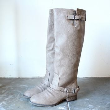 FINAL SALE - buckled down tall zippered riding boots sand
