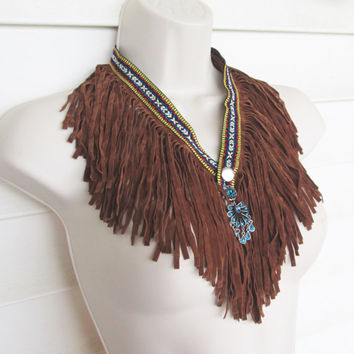 Fringe Necklace,Southwest Necklace, Western Necklace, Fabric collar, Gypsy bib, Fringe Scarf.