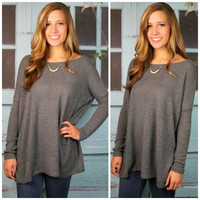 Cambridge Gray Piko Long Sleeve Sweater