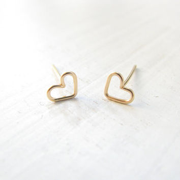 Shop Tiny Gold Heart Earrings On Wanelo