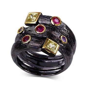 Gothic Fuchsia Zircon Bezel Black Gold Ring