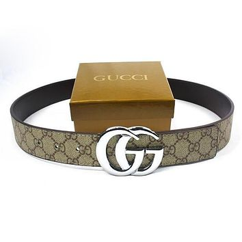 GUCCI Men Woman Fashion Smooth Buckle Belt Leather Belt-204