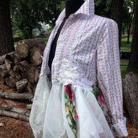 Romantic shabby boho upcycled lagenlook top, S