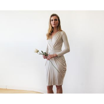Champagne bridesmaids midi dress with long sleeves 1130