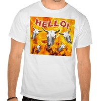 Cow skull and fire t shirts