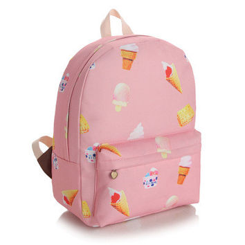 Pink Canvas Lovely Cute Korean Backpack = 4887418564