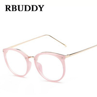 RBUDDY Fashion Clear Lens Round Glasses Transparent Frame Women Gold Eyewear Frame Men Eyeglasses Optical Frame Glasses Female
