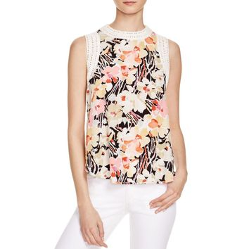 Elizabeth and James Womens Silk Floral Print Tank Top