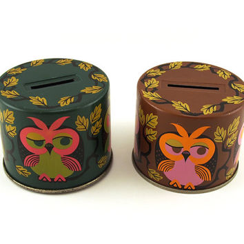 Retro Owl money box tin, Piggy bank, coin jar, Moneybox tin, saving box, saving jar, saving tin. Bristows Fruit Drops, made in England