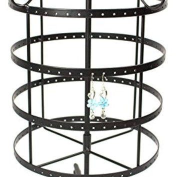4 Tiers Rotating 92 pairs Earring Holder ~Necklace Organizer Stand ~ Jewelry Stand Display Rack Towers (Black)