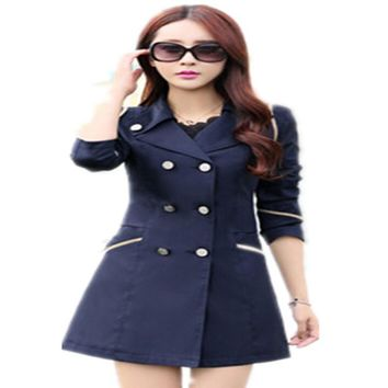 WKOUD Trench Coat For Women Fashion Double Breasted Slim Coats Women's Autumn Mid-long Outerwear Casual Overcoat C8053