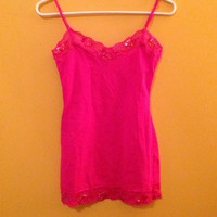 Bozzolo Hot Pink Lace Tank Top