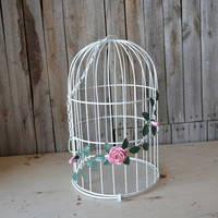 Vintage Shabby Chic White Wire Bird Cage with Flowers