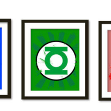 Super hero art, wall art, boys room decor , green lantern, flash,captain america, superheroes logos, painted texture