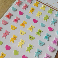 Rainbow colorful bear one point seal sticker mini icon sweet heart bear cute animal kawaii pet diy gift card ipod case scrapbooking