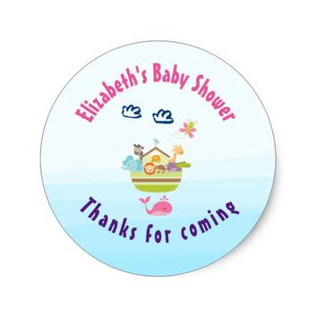 Cute Whimsical Zoo Animal Ark Baby Shower Thanks Classic Round Sticker