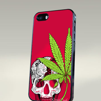 Sugar Skull & Pot Leaf Cell Phone Case for iPhone 5, 5s, 5c, Galaxy S3, S4