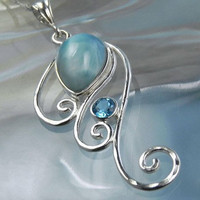 Larimar Necklace - Wave Swirl Necklace - Spiral Pendant with Aqua Blue Topaz - Unique Ocean Inspired Jewelry - Caribbean Larimar Waves