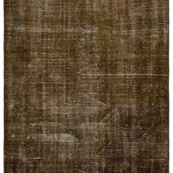 BROWN OVERDYED VINTAGE RUG 4'5'' X 7'4'' FT 135 X 223 CM