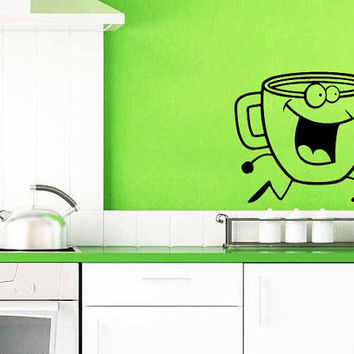 Coffee Cup Doing A Happy Dance Vinyl Decal Wall Sticker Art Design Kitchen Cafe Room Bedroom Nice Picture Home Decor Hall ki86
