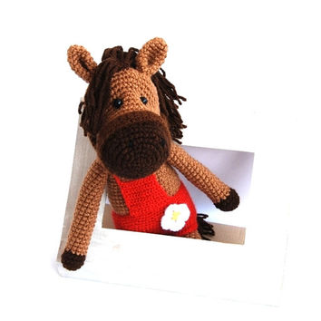 stuffed horse, amigurumi crocheted bronco, plushie hoss, woodland, farm animal, toy for children, red and dark brown, beige