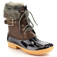 Women's Faux Fur Leather PVC  Ankle Chic Lace Up Buckled Strap Duck Waterproof Rain Boots Shoes