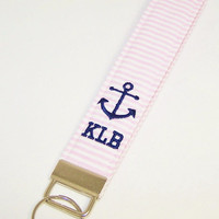 Seersucker Anchor Monogram Wristlet Key Fob in Choice of Colors