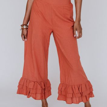 Move Me Striped Ruffle Pant - Rust