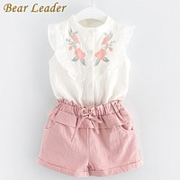 Girls Clothing Sets Girls Clothes Petal Sleeve Floral Printing T-shirt+Pink Shorts Kids Clothing Set