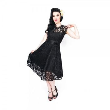 'Sally May' Black Lace Swing Dress