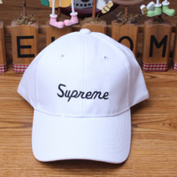 White Supreme Baseball Cap Hat