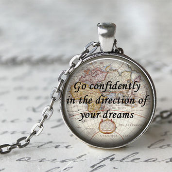 Go Confidently In The Direction Of Your Dreams Quote Necklace, Inspiring Jewelry, Inspirational Jewelry, Graduation Gift