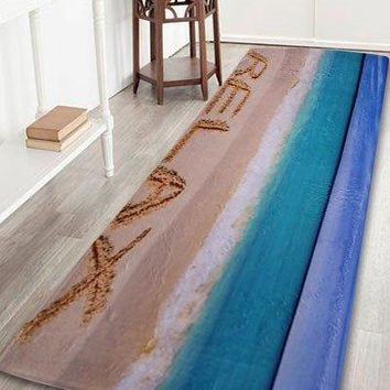Coral Fleece Beach Theme Floor Bathroom Rug