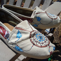 Dream catchers painted on cream TOMS shoes by ArtfulSoles on Etsy