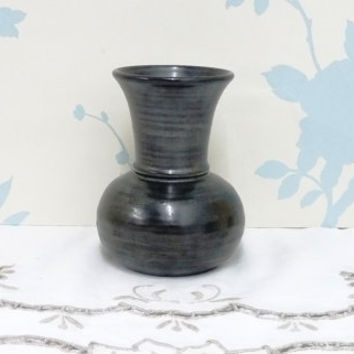 Prinknash Pottery Vase, Charcoal or Gunmetal Metallic Grey Glaze, Hand Thrown, Made in England, Homeware