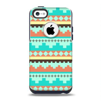 The Teal & Gold Tribal Ethic Geometric Pattern Apple iPhone 5c Otterbox Commuter Case Skin Set