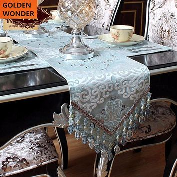 European Style High Quality Table Runners Modern Luxury Table Runner Home Decor With Beads Customized Product Made in China