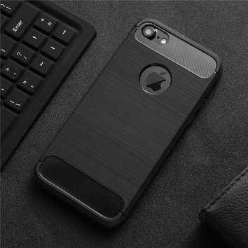 Shockproof Colorful Phone Case For Apple Iphone 6 6S Plus 7 7Plus Carbon Fiber TPU Drawing Material Phone Cases Cover