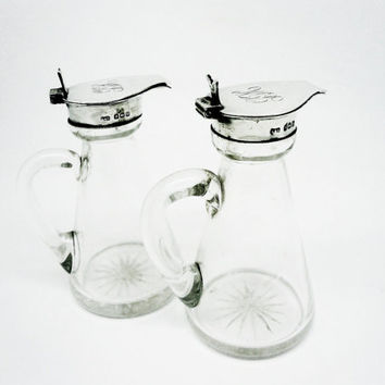 Pair Silver Whisky Noggins, Sterling, Jugs, Whiskey, English, Antique, Cut Glass, Star Cut Bases, Levi & Salaman, Hallmarked 1911, REF:TBA