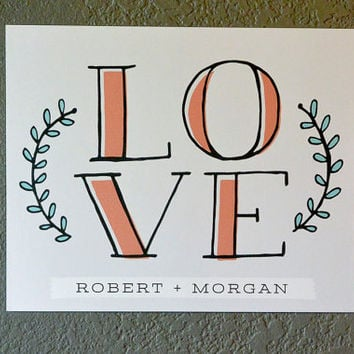 Custom Love Art Home Decor Wall Art Hand-drawn - 5 x 7, 8 x 10, 11 x 14, 13 x 17