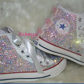 kids high top sequin bow rhinestone converse