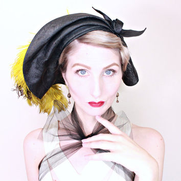 1930s Vintage Hat / Hattie Carnegie / Designer Hat / Sculpted Art Deco Shape / Chartreuse Feathers