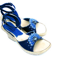 Vintage Blue Jeans Wedge Sandals